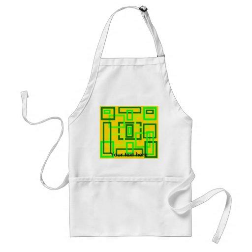 Retro light green squares on yellow background apron