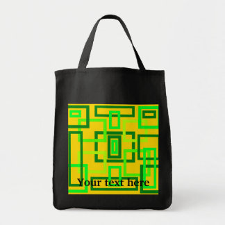Retro light green squares on yellow background tote bag