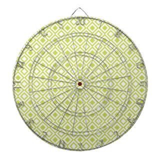 Retro Light Lime Green Geometric Pattern Dart Board