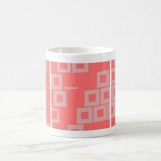 Retro Light Pink Squares vs Modern Dark Salmon Coffee Mug