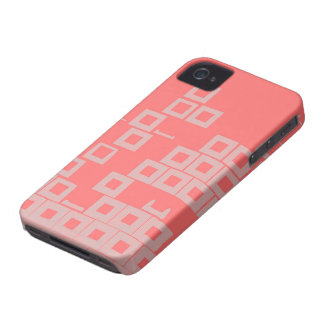 Retro Light Pink Squares vs Modern Dark Salmon iPhone 4 Cover