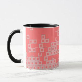 Retro Light Pink Squares vs Modern Dark Salmon Mug