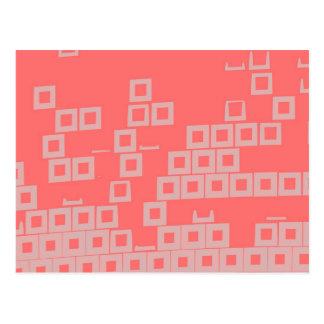 Retro Light Pink Squares vs Modern Dark Salmon Postcard