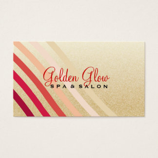 Retro Lightly Faux Gold Waves of Neutral to Red Business Card