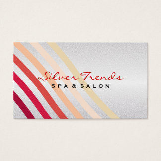 Retro Lightly Faux Silver Waves of Neutral to Red Business Card