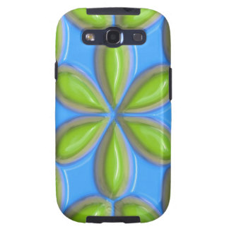 Retro Lime Flower Tiles on Blue Samsung Galaxy SIII Cases