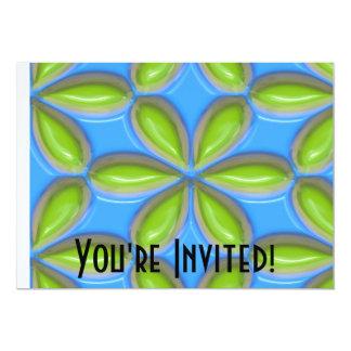 Retro Lime Flower Tiles on Blue 5x7 Paper Invitation Card