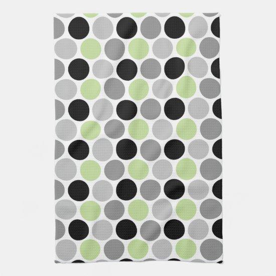 Retro Lime Gray Black Circles Kitchen Towels