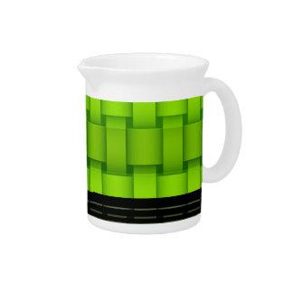 Retro lime green stripes art graphic design beverage pitcher
