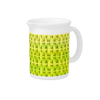 Retro lime green wicker art graphic design pitcher