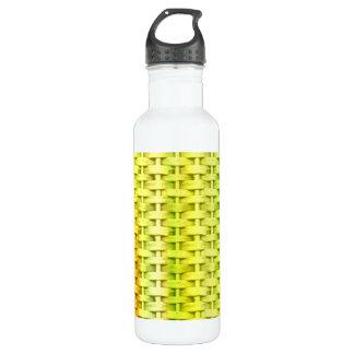 Retro lime green wicker art graphic design water bottle