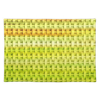 Retro lime green wicker graphic design cloth placemat