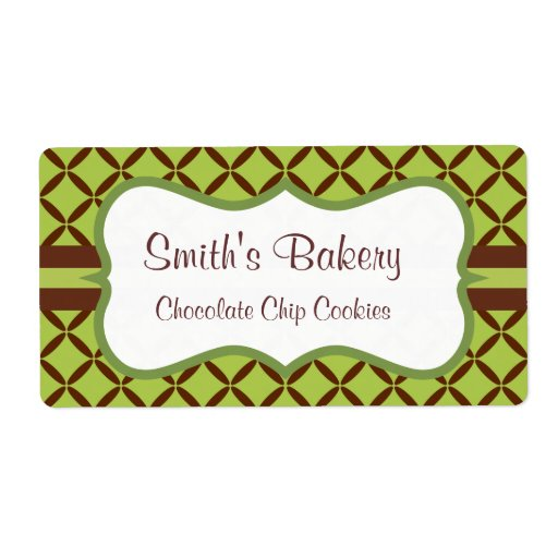 Retro Lime Pattern Business Labels
