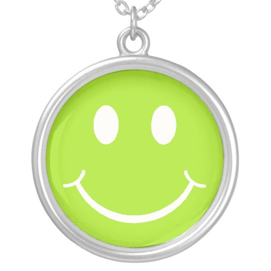 Retro Lime Smiley Silver Plated Necklace
