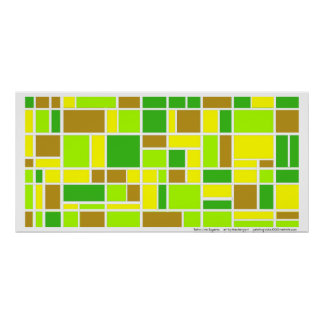 Retro Lime Squares Print