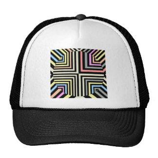 Retro Line Colorful Design Vintage Rock Styles Mesh Hat