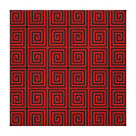 Retro Lined Maze Pattern in Black & Red Stretched Canvas Print