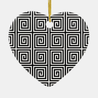 Retro Lined Maze Pattern in Black & White Double-Sided Heart Ceramic Christmas Ornament