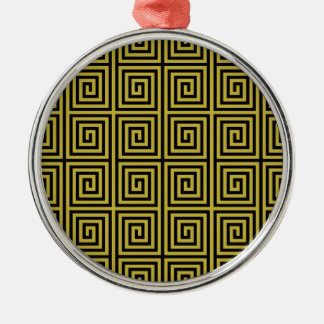 Retro Lined Maze Pattern in Yellow Round Metal Christmas Ornament