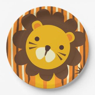 Retro Lion on Stripes Paper Plate 9 Inch Paper Plate