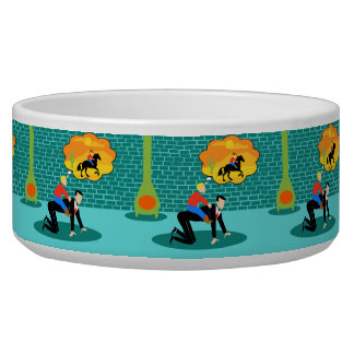 Retro Little Cowboy Ceramic Pet Bowl