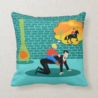 Retro Little Cowboy Throw Pillow