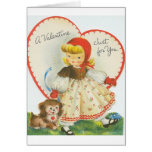 Retro Little Girl And Puppy Valentine's Day Card
