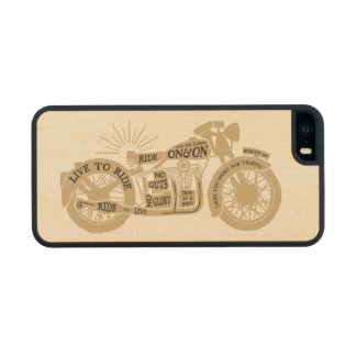 Retro Live To Ride Vintage Motorcycle with Text Carved® Maple iPhone 5 Slim Case