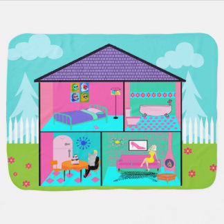 Retro Living Dollhouse Baby Blanket