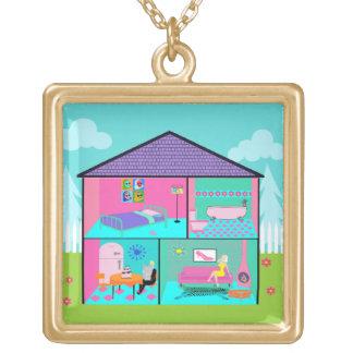 Retro Living Dollhouse Necklace