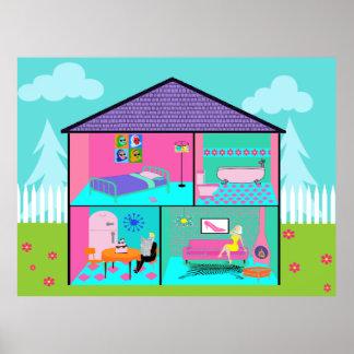 Retro Living Dollhouse Poster