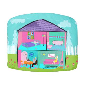 Retro Living Dollhouse Round Pouf