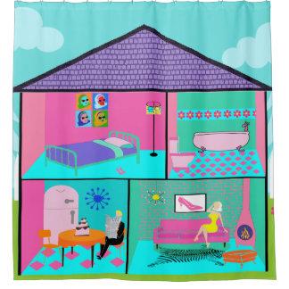 Retro Living Dollhouse Shower Curtain