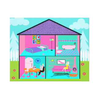 Retro Living Dollhouse Stretched Canvas Print