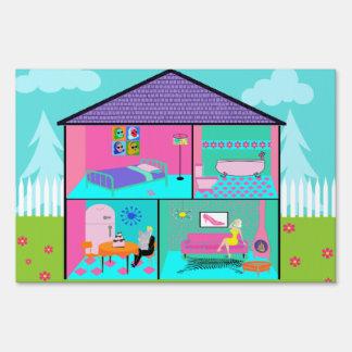 Retro Living Dollhouse Yard Sign