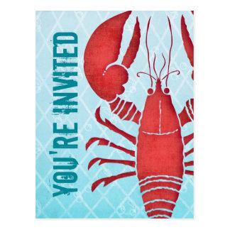 Retro Lobster Postcard Invitation