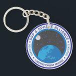 "Retro Logo Circular Keychain<br><div class=""desc"">Circular keychain with retro logo.</div>"