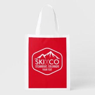 Retro Logo Ski Mountain Steamboat Colorado Custom Grocery Bags