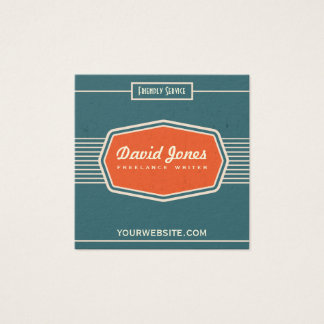 Retro Logo Style Square Shape Business Card Teal