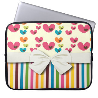retro lolly valentine love hearts and stripes computer sleeve