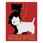 Retro London and Glasgow by train, dogs terriers Print