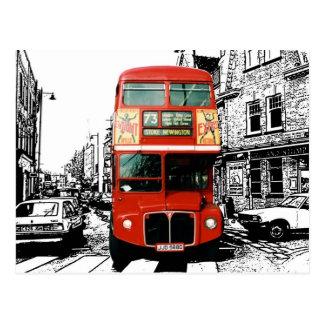 Retro London Bus on Black White Background Postcard