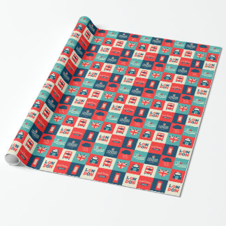Retro London Collage Paper Wrapping Paper