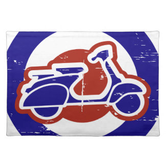Retro look aged effect  mod target and scooter placemat