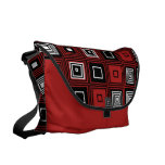Retro look black white red  pattern courier bags