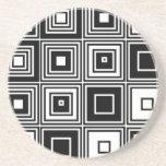 Retro look black white square pattern coasters
