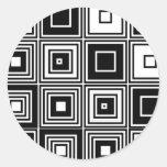 Retro look black white square pattern round stickers