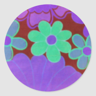 Retro Look-Bright & Dark Flowers Design-Stickers Classic Round Sticker