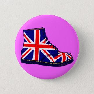 Retro look british boot pop art pinback button