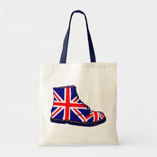 Retro look british boot pop art tote bag